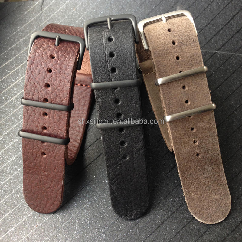 italian genuine leather male nato strap
