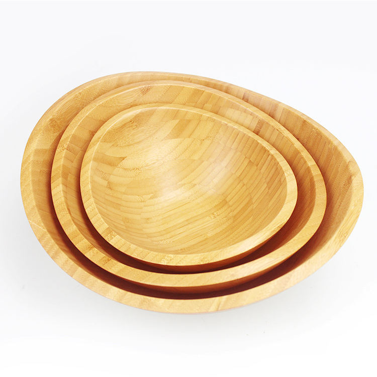 Hot Sale Large Round Sustainable Development Natural Living Bamboo Wood Salad Bowls Set