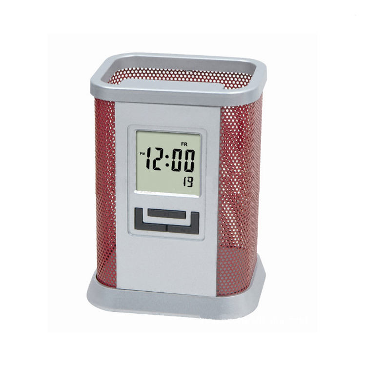 Multifunction Electronic Office Table Digital Time Day Display Metal Pen Holder Alarm Clock