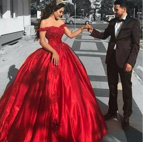 Indian Red Princess Ball Gown Wedding Prom Dresses