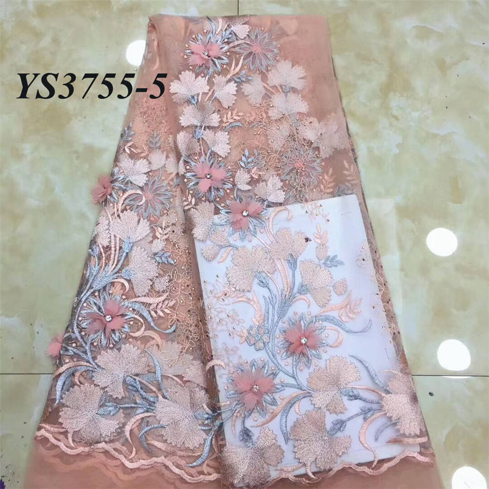 African new style So beautiful lace fabric high quality tulle lace embroidery 3D flower with big stones garment