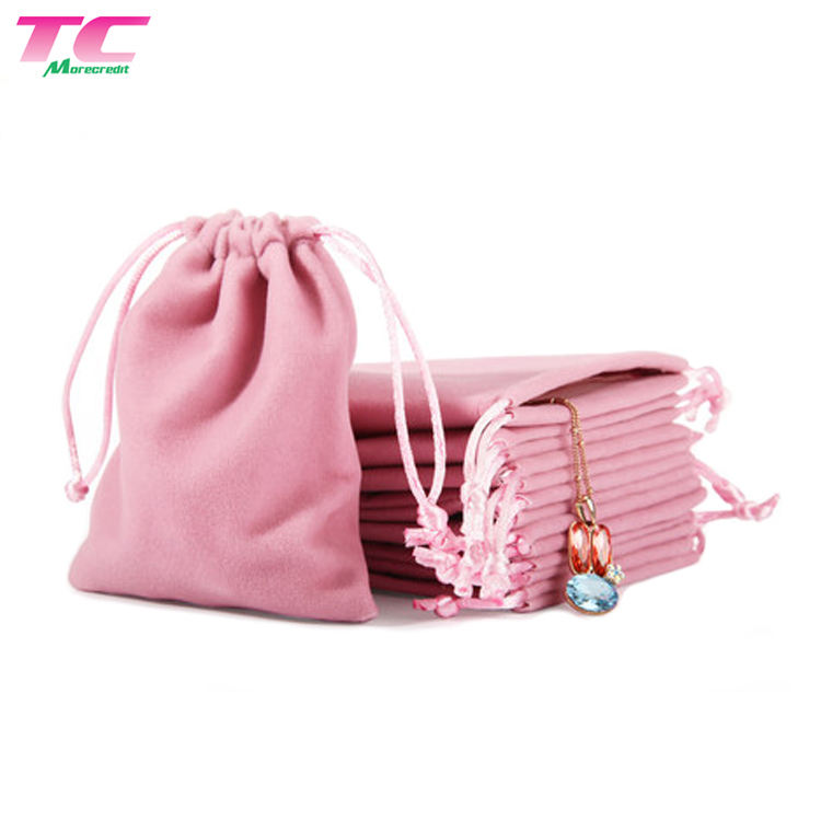 Customized Pink Dust Jewelry Storage Bag Velvet Drawstring Perfume Pouch