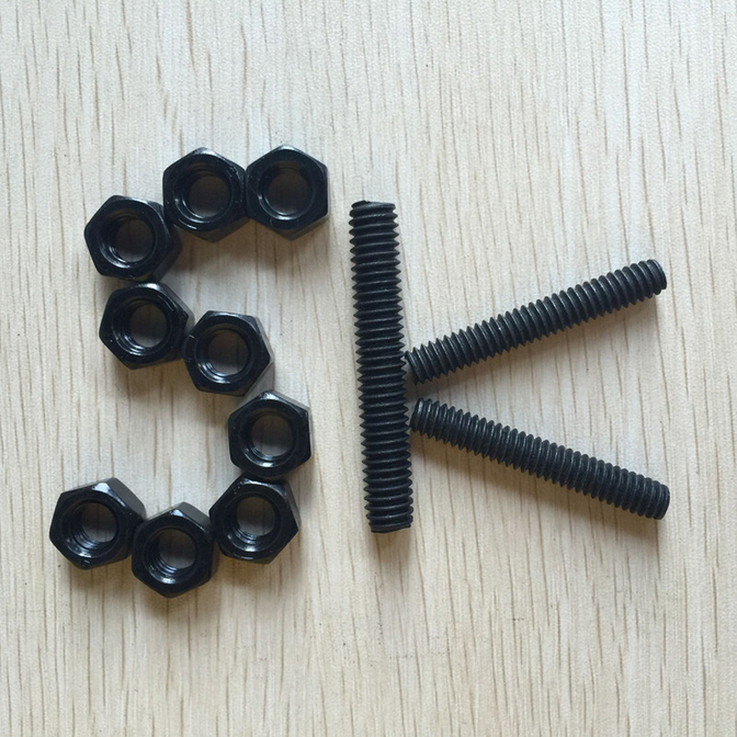 "Fastener product High tensile hex stud bolts A193 B7 threaded rod and heavy hex nuts A194 2h diameter 1/2"" to 2"""