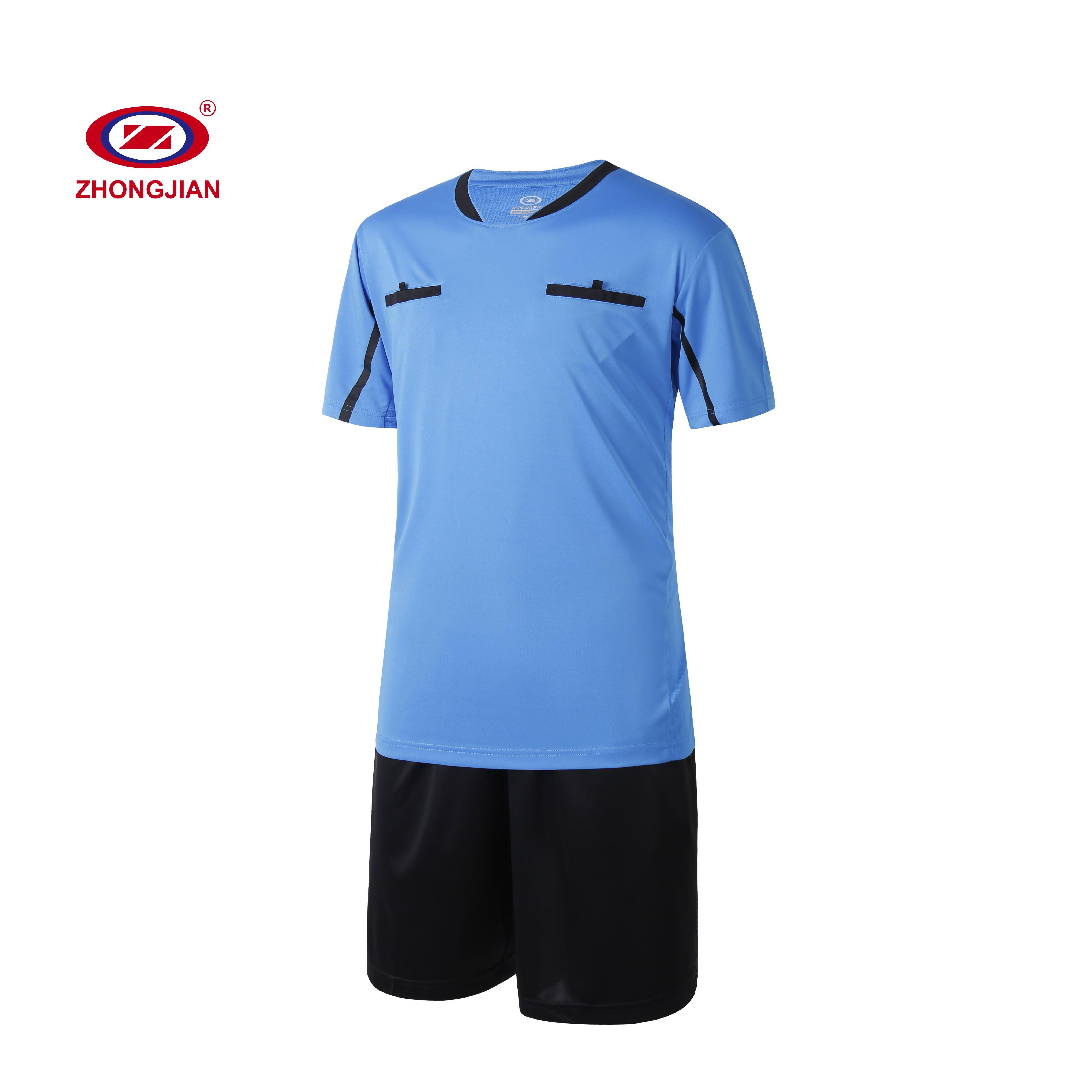 customized logo moisture wicking football training wear referee soccer clothes set with pockets