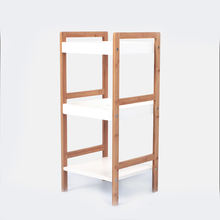 2019 3 tier foldable warehoused wooden bamboo shelf wall decor wood flooring display rack decorative wall shelf wood