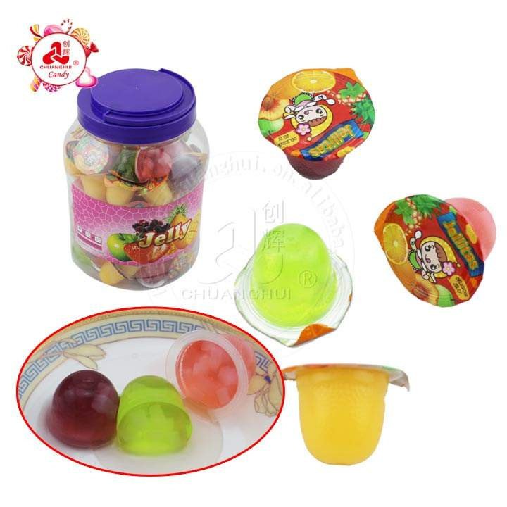100pcs 15g Fruit Jelly Cup Candy In Jar Fruits Flavor with coconut cube