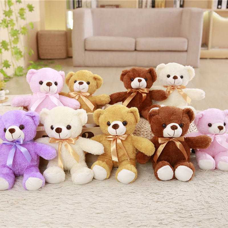 Yangzhou toy manufacture cute and beautiful teddy bear soft toy oso de peluche with bow wholesale