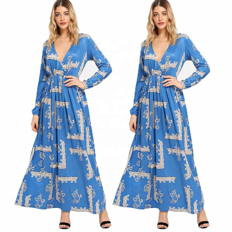 Stylish women fashion new design printed long dress 2018 winter full sleeve casual v neck dress