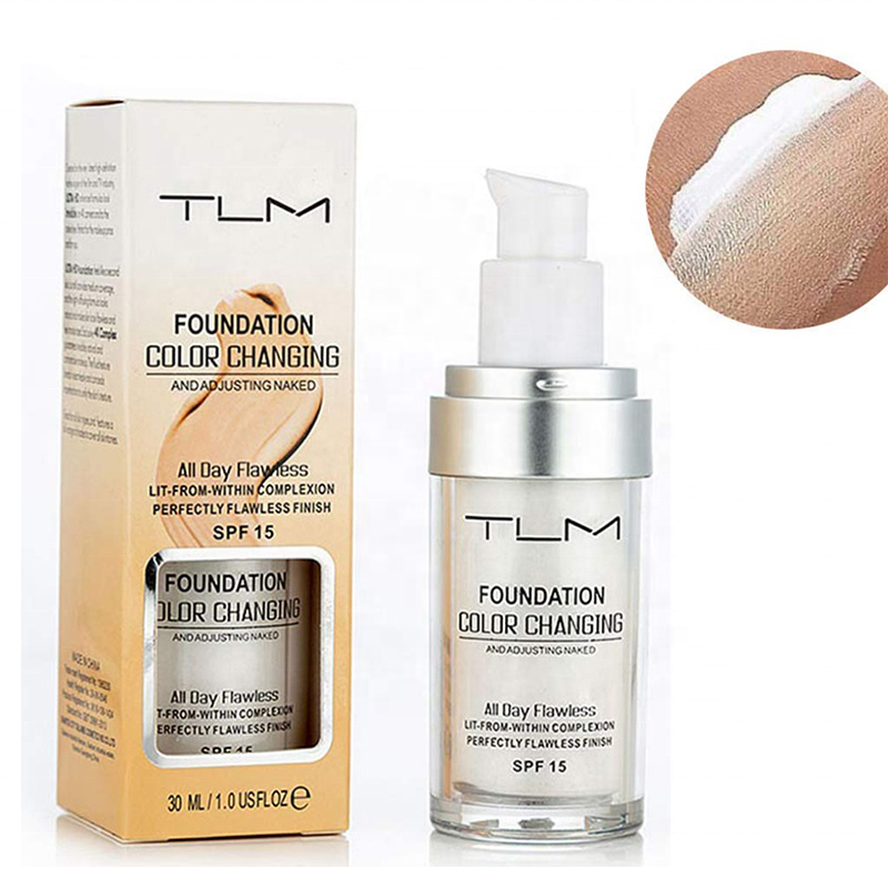 TLM 30 ML Magie Farbwechsel Flüssige Foundation Make-Up Basis Nude Gesicht Abdeckung Concealer Make-Up Haut Ton Foundation