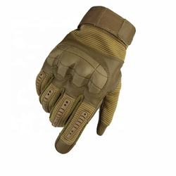 Custom black outdoor polyester hard knuckle military police protection warm gloves