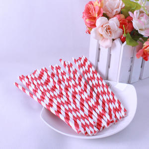 Environmental Reusable Biodegradable Paper Drinking Red Striped Straws