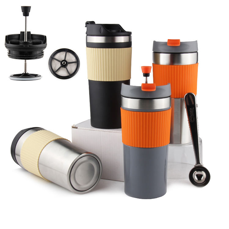 Travel coffee mug French coffee press, Stainless Steel Insulted Travel Coffee mug and Tea Press with plunger and silicone