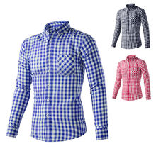 Body fit t shirts for men fancy plaid fabric t shirts for men