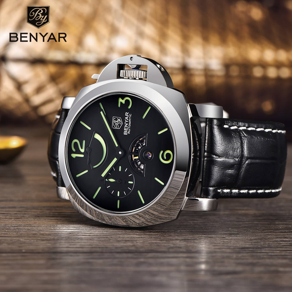 Best selling in America unique design Benyar stainless steel Japan movement automatic wrist watches for man