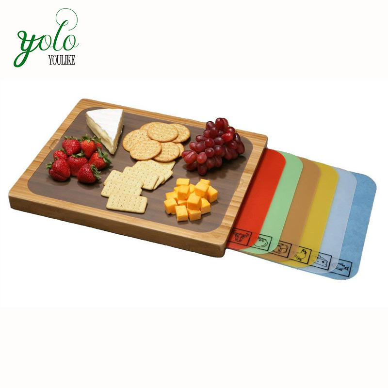Easy to Clean Bamboo Cutting Board with 7 Color-Coded Flexible Cutting Mats