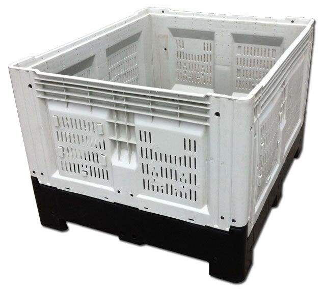 660L plastic collapsible crates foldable plastic box on forklift