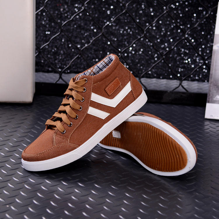 Cheap price fashion stripe canvas casual mens walking high top shoes