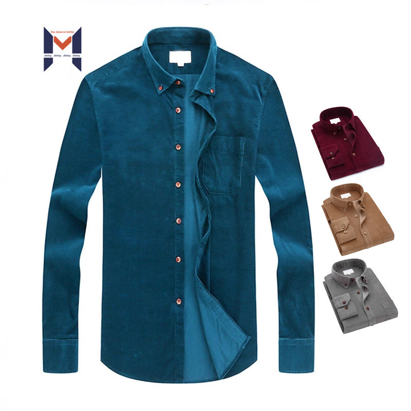 OEM Custom Long Sleeve Solid Color Corduroy Casual Shirts For Men