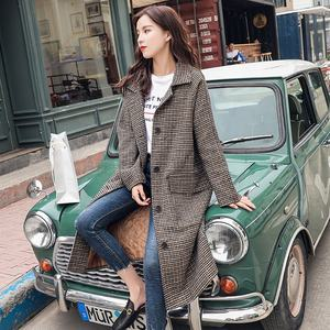 Han Edition Long Korean Popular Grid Cloth Coat Houndstooth Woolen Cloth Dust Coat
