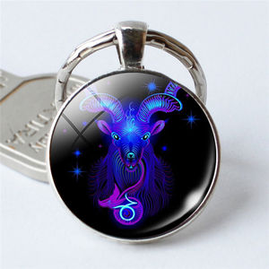 Hot Sale Cheap Price Fashion Personal Practical Alloy Metal 12 Constellation Keychains Virgo Scorpio Pendant Double Face Keyring
