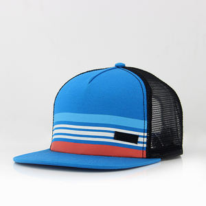 5 panels polyester custom printed logo with belts and mesh back in sports flat caps & hats with plastic snapback adjuster