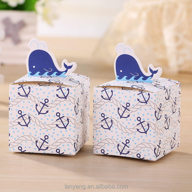 New list Nautical Whale Favor candy boxes shower baby gift boxes