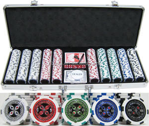500pcs sticker poker chip set in Silver aluminium case