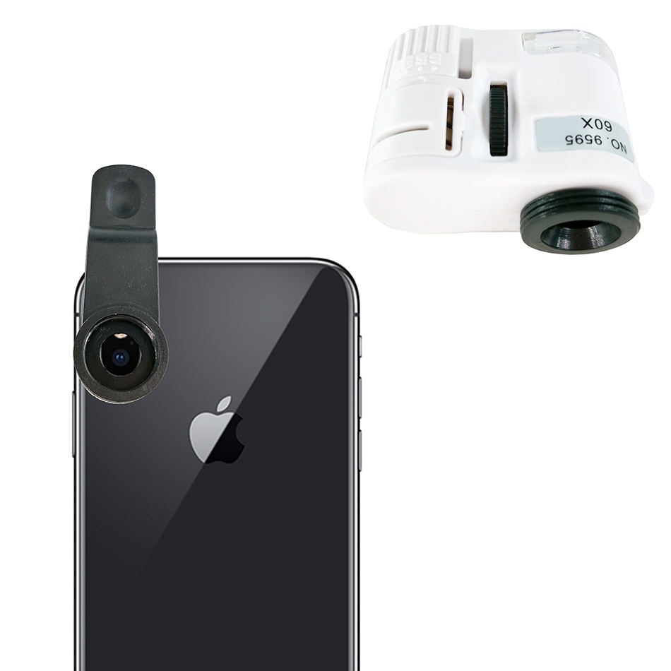 Macro Photo 60X Zoom Lens 3 LED Pocket Magnifier with Clip Flashlight microscope for mobile phone