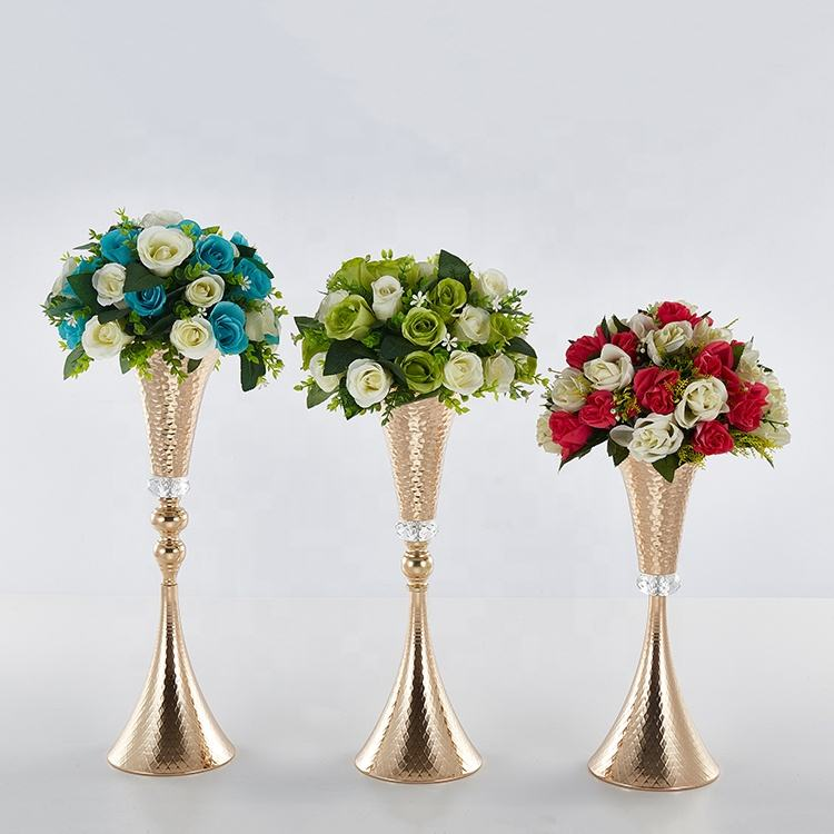 new products gold trumpet vase wedding decoration