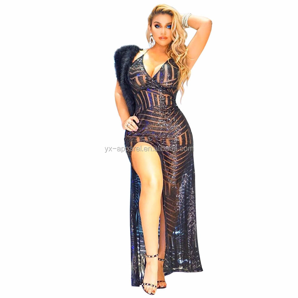 Wanita Seksi Jauh V-Neck Sequin Side Berpisah Bodycon Payet Cocktail <span class=keywords><strong>Maxi</strong></span> Gown Party Dress