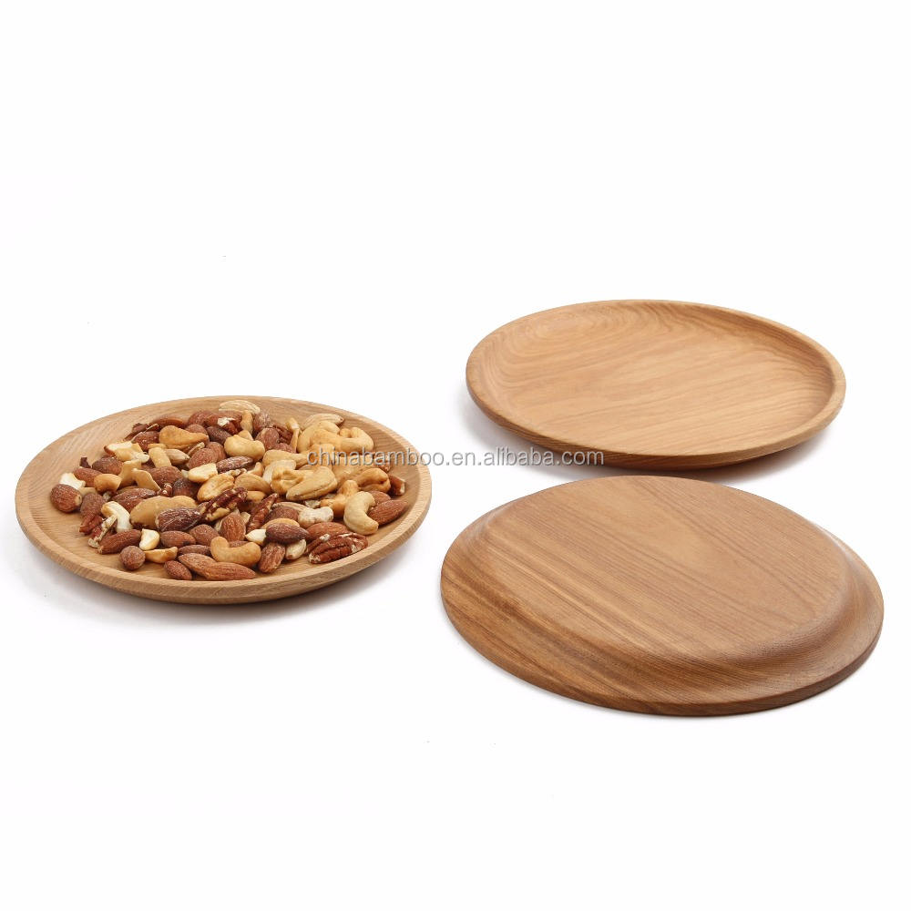 round natural wooden plate for fruit and nuts wood fruit plate