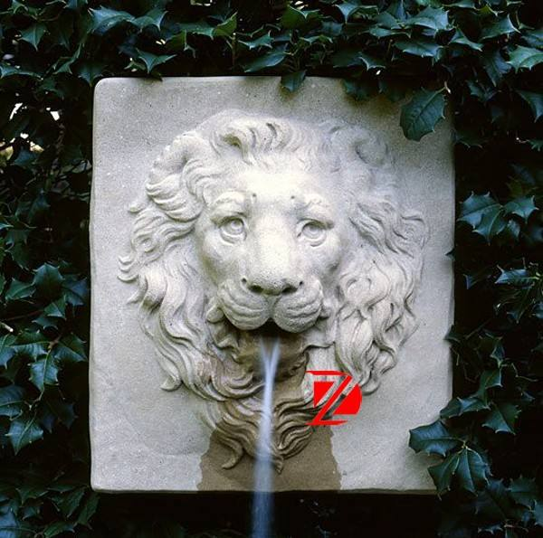 wall hanging lion head stone fountain