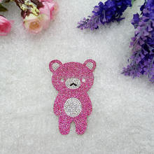 Fashion bear type rhinestone applique Adhesive patch