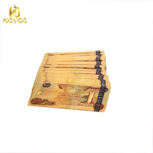 Normal waterproof Plastic Material 24k gold foil playing card with wooden box