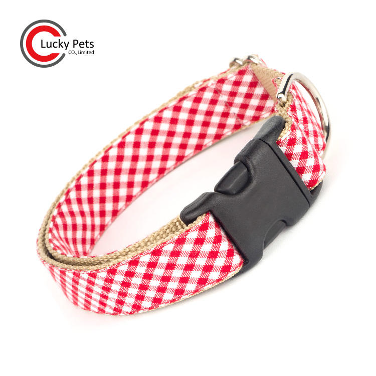 Fashionable square cells red gingham dog collar