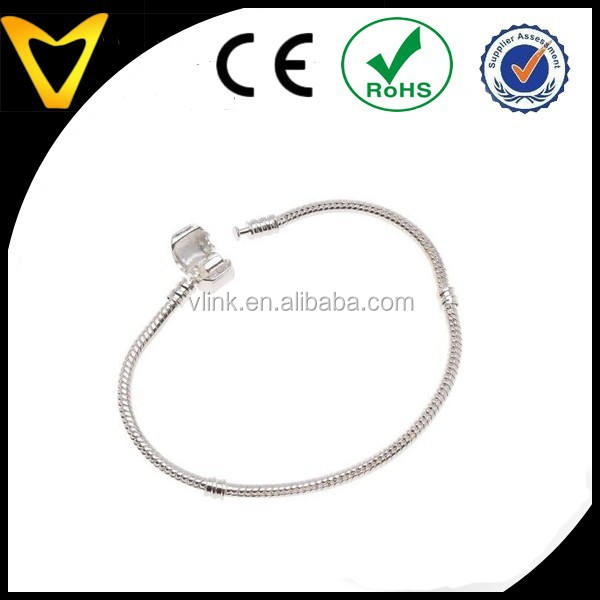Silver 7.5 Inches European Style Snake Chain Bracelet Fits Biagi Troll Chamilia Bead Story Charms