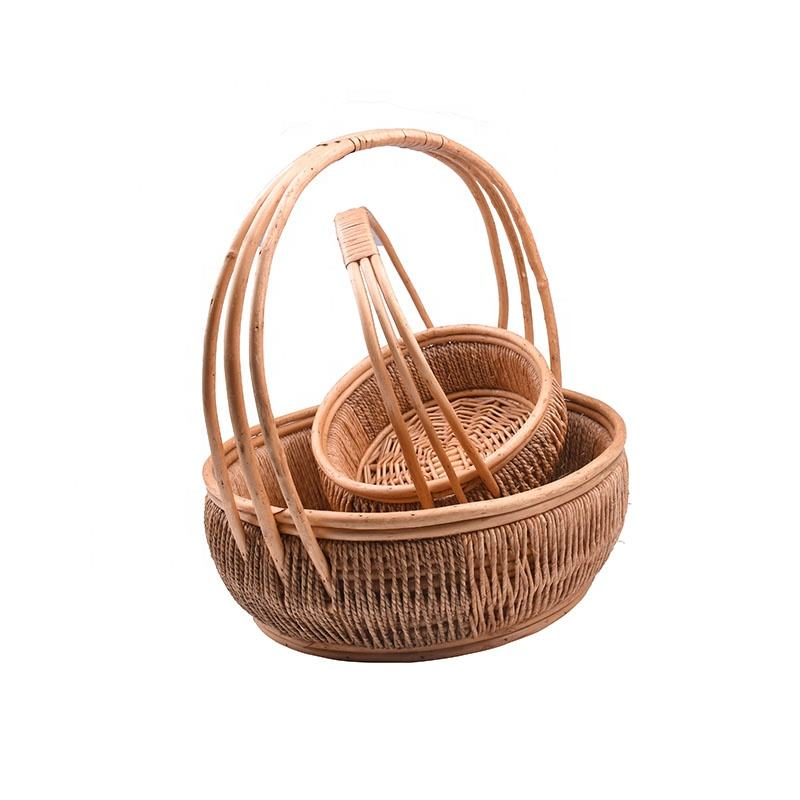 Wicker Basket Woven Picnic Basket Empty round Willow Storage Basket natural color