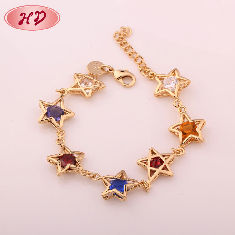Gold plated 18k solid girls gold bracelet jewelry design for girls