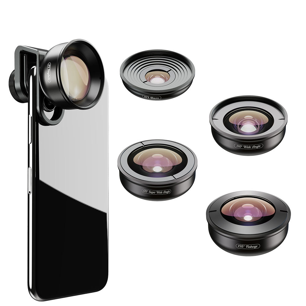 Apexel Phone Camera Accessory Clip Mobile Phone Lens 5 In 1 Lens Kit Macro Wide Angle Fisheye Telephoto Lens For Smartphone