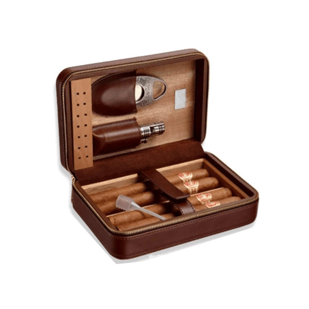 Custom Vintage Hot selling Luxury Leather Humidor Cabine box Cedar wood cohiba cigar box
