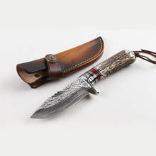 High quality VG10 Damascus steel fixed blade knife hunting knife with stag handle and leather sheath