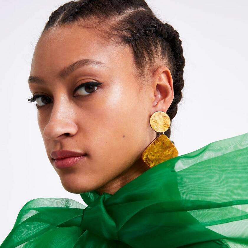 Kaimei new product 2019 fashion jewellery women punk party sexy fan shaped geometrical earring new statement acetate earrings