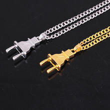 PUNK necklace cool mens' gold silver metal plug bar pendant
