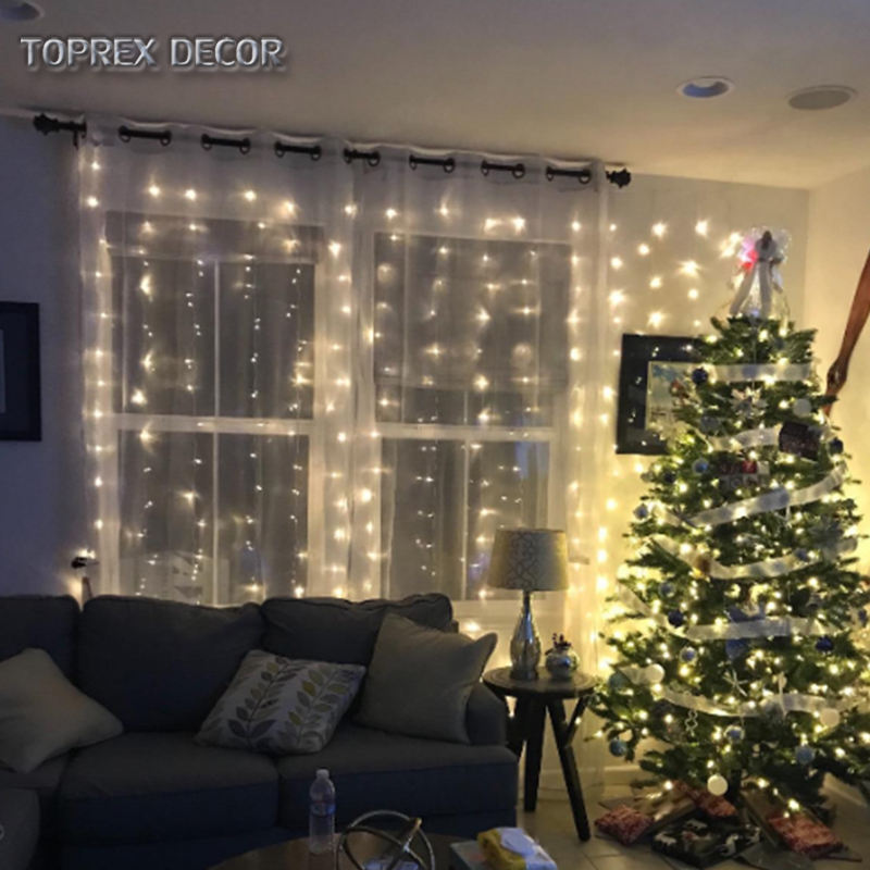 TOPREX DECOR 2*2m 400 LEDs connectable warm white christmas Curtains Lights for commercial building decoration