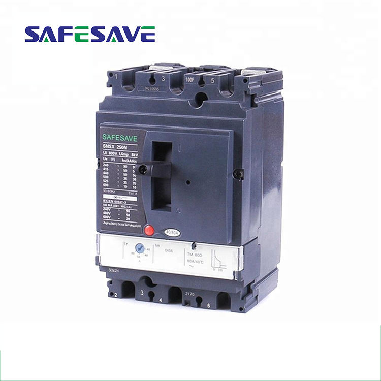 Black 690V 50/60hz simple structure standard mccb ratings industrial circuit breaker