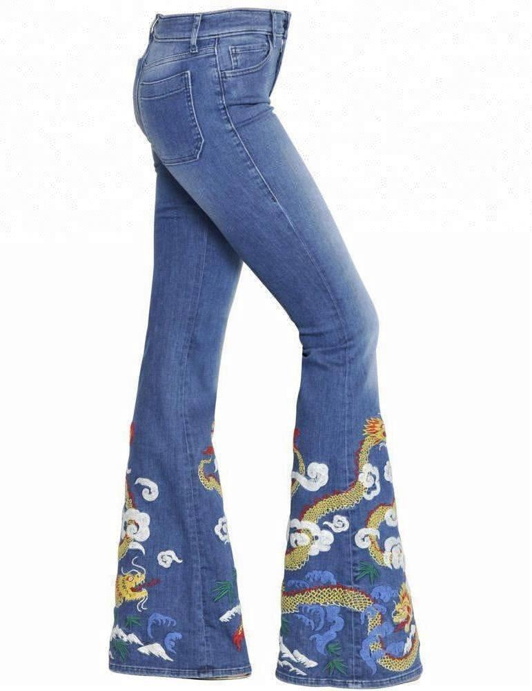 Royal wolf denim jeans manufacturer mid blue dragon embroidery at hem ladies embroidered flare denim jeans