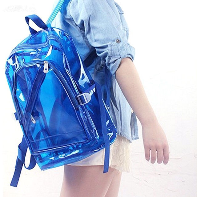 Lightweight Pvc School Book Bag 2 Zipper Opening Front Pocket Clear School Bags Transparent Pvc Backpack