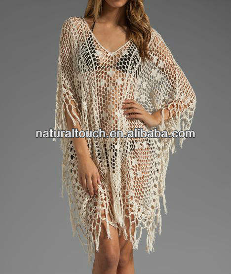 2017 hotselling Sexy cotton Caftan fashion white crochet loose casual ladies dresses