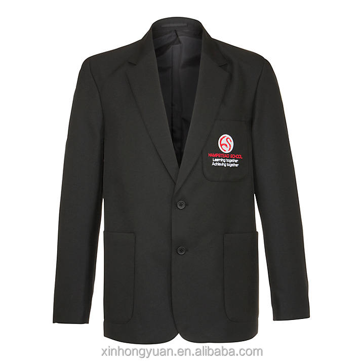 OEM custom oversea black blank soft microfiber padded shoulder school uniform blazer in custom logo