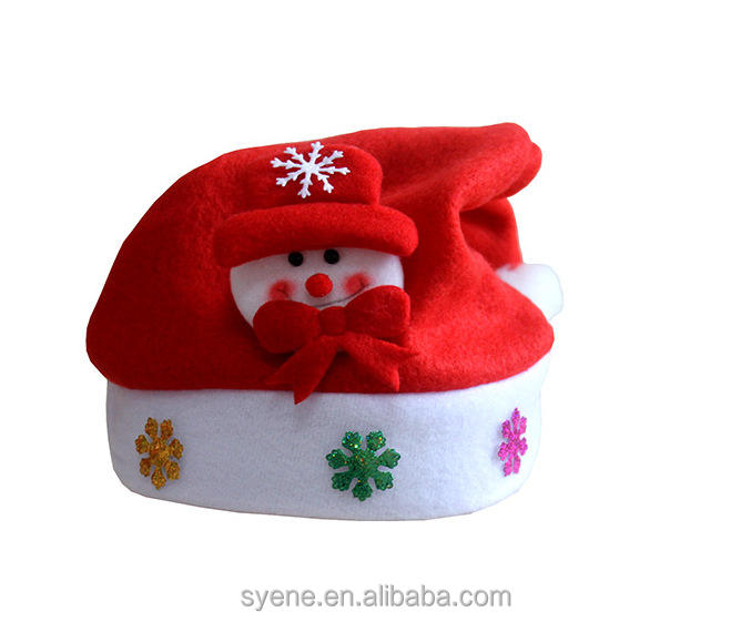 cheap red felt tap funny christmas hats for children kids Santa plush animal hats kids